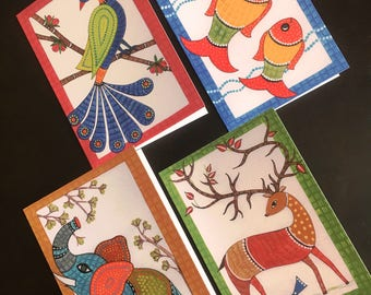 Set of 4 Blank Cards, with Indian Folk Art