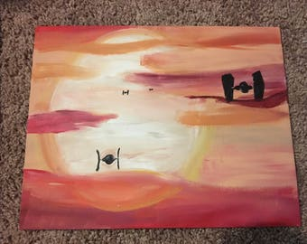 Star Wars painting x wing ships sunset