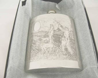 Vintage Sheffield Rose Pewter Hip Flask Made In England Engraved Hunting Shooting Scene With Original Box COA 1983/84