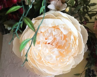 Deluxe Peony, Large, Crepe Paper Flower, Hanging Wall Art      Wedding Decor   Baby Room   Paper Flower Art   Handmade without Templates