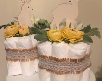 Rustic Meadow Mini Diaper Cake