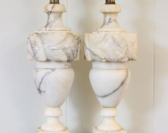 PAIR Vintage Alabaster Marble Carved Leaves and Thistles/Cones Neoclassical Table Lamps