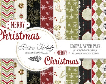 Digital paper,Xmas Paper Pack, Retro Xmas Paper ,Designer Paper Pad, Planner Stickers,  patterns, Christmas Paper Pack