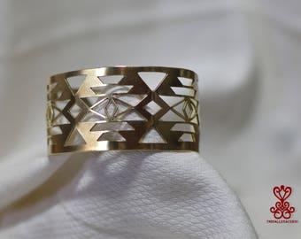 Geometric Triangles Brasss Bracelet