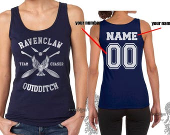 CHASER - Custom Back, Ravenclw Quidditch team Chaser WHITE print on Female tank (Gildan Softstyle junior 64200L)