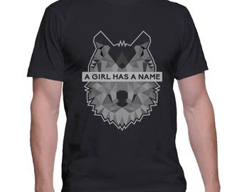A Girl Has a Name printed on MEN tee