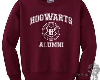 Hgwrts Alumni #2 White print on Crew neck Sweatshirt