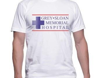 JUST LOGO Grey Sloan Memorial Hospital printed on Men tee