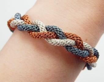 Adjustable metal braided kumihimo bracelet