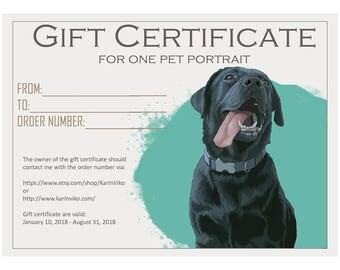 SALE! Gift Certificate one pet portrait. Last minute Christmas gift. One pet portrait. Pet portrait. Illustration. Christmas gift.