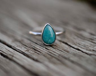 Simple Turquoise Ring   Size 9   Sterling Silver