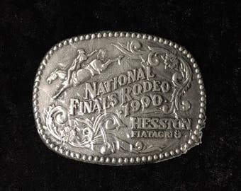 Hesston FiatAgri National Finals Rodeo Pewter Belt Buckle, 1990