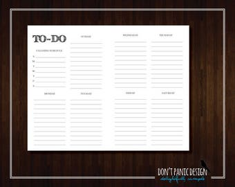 Printable To Do List - Rustic Black Weekly Planner Page, Daily Schedule Planner Sheet - Grocery List Planner - To Do List - Instant Download