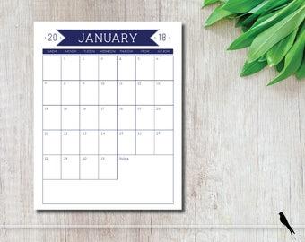 2018 Printable Wall Calendar - Navy Blue Portrait 12 Month Wall Calendar - Home Office Classroom Calendar - Instant Download Calendar