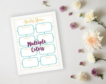 Menu Planner - Simple Fun Colorful Menu Planner Sheet - Dinner Menu