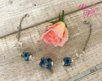 Blue flowers-resin bracelet-blue flower bangle