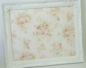 Mary Rose fabric Pink Floral Shabby Chic fabric ~ Ornate Framed French Memo Board