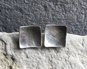Sterling Silver Square Earrings - Textured Square Earrings - Post Earrings - Minimal