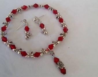 Red Zircon bracelet and Earring