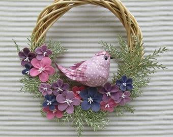 Bird Wreath, Purple Bird Wreath, Summer Bird Wreath, Spring Bird Wreath, Grapevine Bird Wreath, Felt Flower Wreath, Purple Flower Wreath