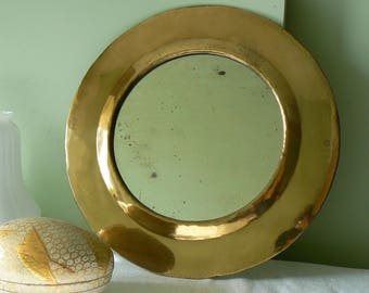Morocco 1960s-1970s Vintage brass round mirror