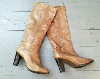 Peter Kaiser vintage calf leather eighties 80's boots wooden stacked heel