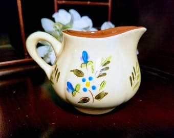 Stangl Creamer in Petite Flowers Pattern Beautiful Vintage Creamer Bright Blue and Yellow Flowers