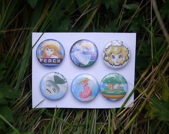 "Super Smash Bros Melee Peach Pack - 6 button set - 1"" video game badges pins enamel pinbacks SSBM"