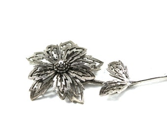 Vintage Articulated Flower Brooch, Silver Tone Flower, Silver Tone Brooch, Sunflower brooch