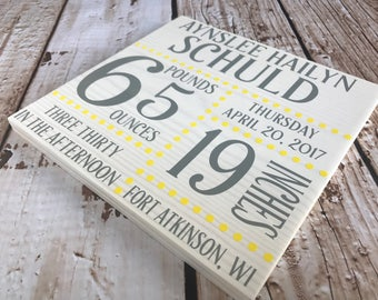 Birth Announcement Sign, Baby Birth Sign, Baby Stats, Name, Weight, Length, Time, Pounds, Custom Birth Stats, Original