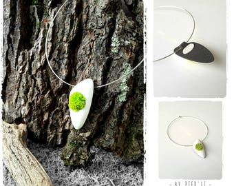 Designer white and green greenery pendant necklace