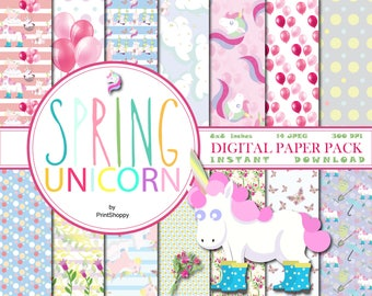 Spring unicorns digital paper pack, Pastel unicorn digital papers, Magical unicorn scrapbook papers, Unicorn printables, Unicorn background