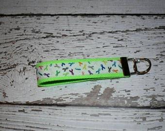 cancer awareness key fob - cancer survivor gift - cancer awareness - lime green cancer awareness - cancer ribbon