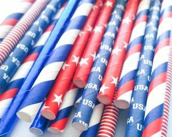 Patriotic. Patriotic Straws. Fourth of July. 4th of July. Paper Straws. Straws. Red White and Blue Straws. USA Straws. Star Straws