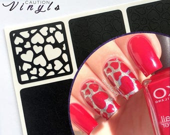 Scattered Hearts Nail Vinyl - Nail Stencil for Nail Art