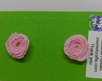 Pink Jean Rose Post Earrings