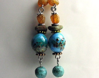 Rustic turquoise earrings in the antique style