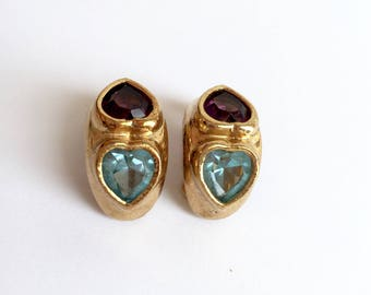 Blue and Purple Hearts Gold Tone Earrings From The 1960s