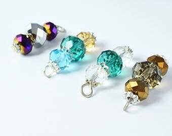 Faceted Crystal Gemstone Bead Earring Connector Findings/2-Tier Crystal /3-Tier Crystal Bead Connector/earring findings/earring connector