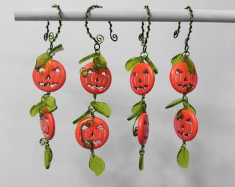 Set of 4 Jack O'Lantern Beaded Ornaments with Glass Leaf Detail