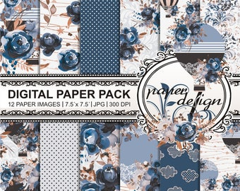 "Watercolor Floral Digital Paper Pack ""autumn paper"" scrapbooking Gold hot air balloon blue roses watercolor-Romantic bloom #54"