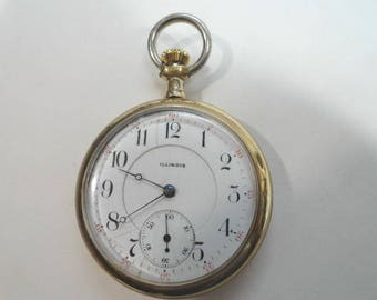 1906  Illinois  Pocket Watch 17 Jewel 16 Size 50mm Running