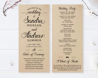 Modern wedding programs printed on kraft cardstock / Simple programs for wedding / Wedding ceremony programs