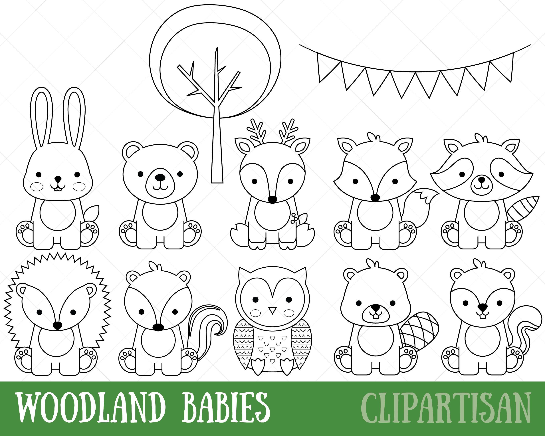 woodland animals digital stamps baby animal digital stamp cute woodland coloring page. Black Bedroom Furniture Sets. Home Design Ideas