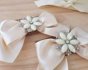 Shoe Bow Clips, Custom Shoe Bows, Luxury Satin Bows with Embellishment.
