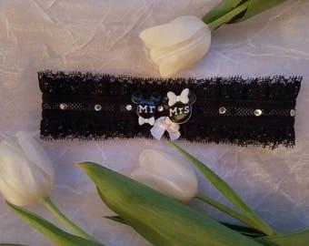 Wedding garter, Disney wedding garter, Disney wedding, Stretch Lace Garter, Mickey and Minnie garter, Black garter, Disney theme