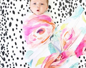 Bright Summer Blooms Oversized Swaddle Blanket | Super Soft Large Swaddle Blanket in our popular Watercolor floral print | Swaddle Baby Gift