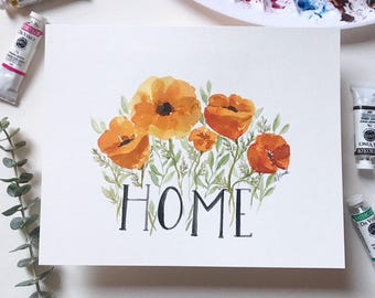 HOME California poppy original 8x10 watercolor
