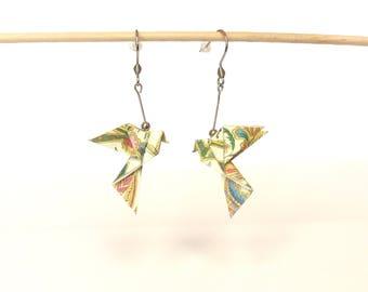 Origami doves earrings, bird origami jewelry origami, stainless steel hooks
