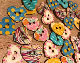 24 mm Cute Wood heart shaped buttons. Mixed color pattern, 2-hole heart shaped, 10 pack
